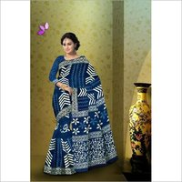 Indigo Block Print Cotton Mulmul Saree