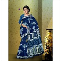 Block Print Indigo Cotton Saree