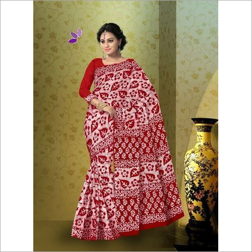Batik Print Cotton Saree with Blouse