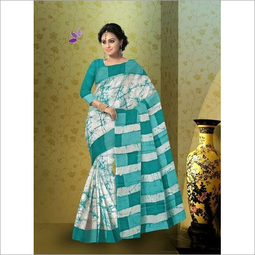 Batik Print Cotton Mulmul Saree with Blouse