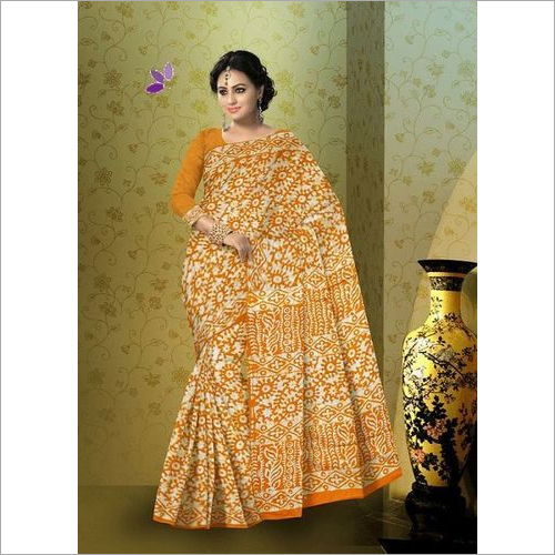 Batik Print Fancy Cotton Saree