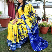 Fancy Yellow Cotton Saree