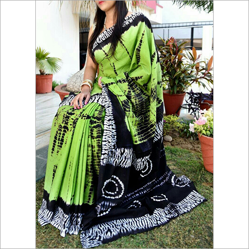 Green and Black Cotton Saree