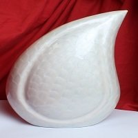 Pearl White Teardrop Funeral Urn