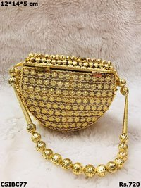 Fabric Stylish Metal Clutch