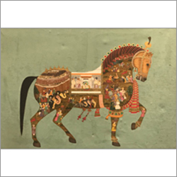 Mughal Horse Mineral Water Colour