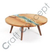 Round Wooden Glass Coffee Table