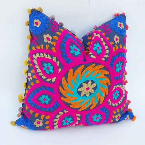 Cushion Cover With Suzani Work