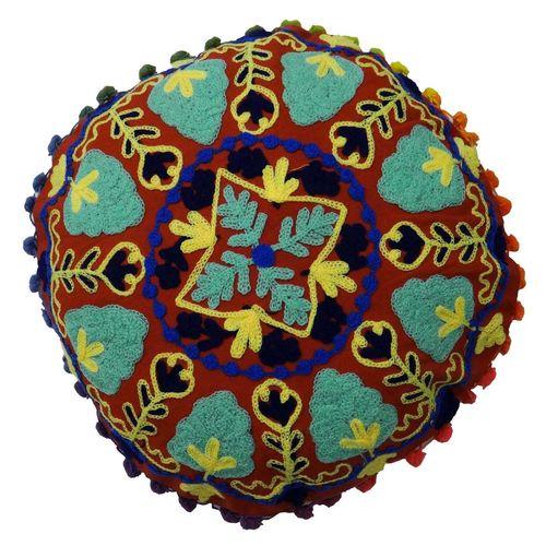 Round Suzani Cushion Cover