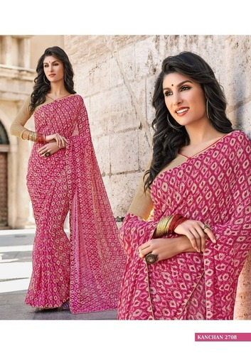 Georgette Printed Border Saree