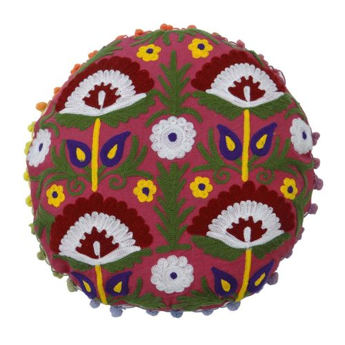 Round Embroidered Suzani Cushion