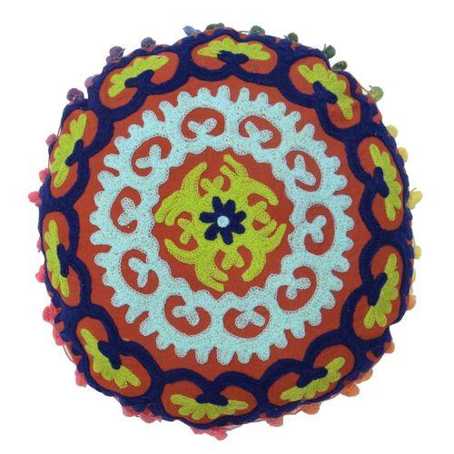 Round Suzani Cotton Cushion Cover