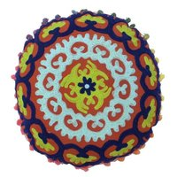Round Suzani Cotton Cushion Cover