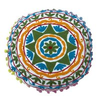 Round Embroidered Suzani Cushion Cover