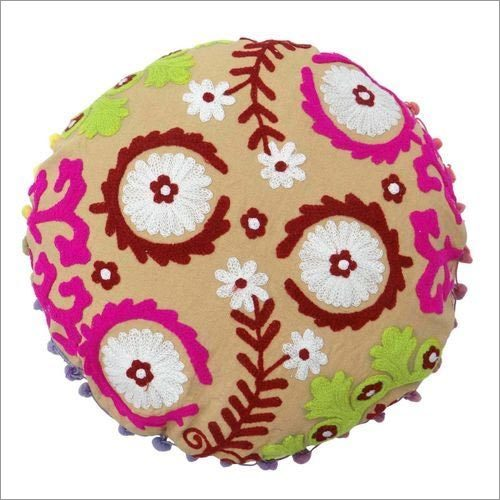 Round Suzani Embroidered Cushion Set