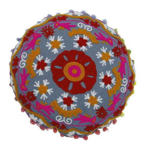 Round Cotton Suzani Cushion Cover