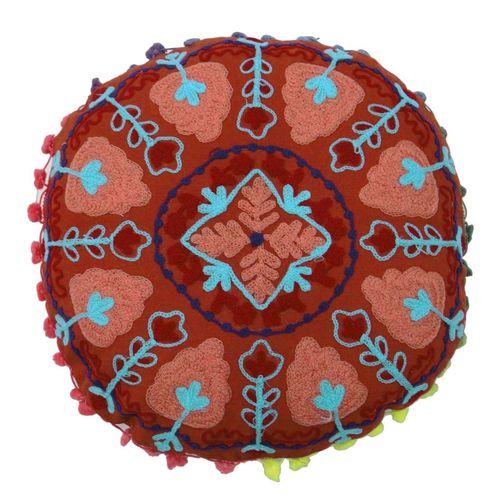 Round Suzani Decorative Cushion Cover