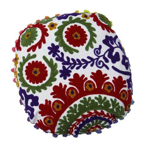 Round Decorative Suzani Cushion Cover