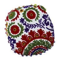 Round Decorative Suzani Cushion Cover