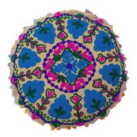 Embroidered Round Suzani Cushion