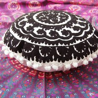 Embroidered Round Suzani Cushion Cover