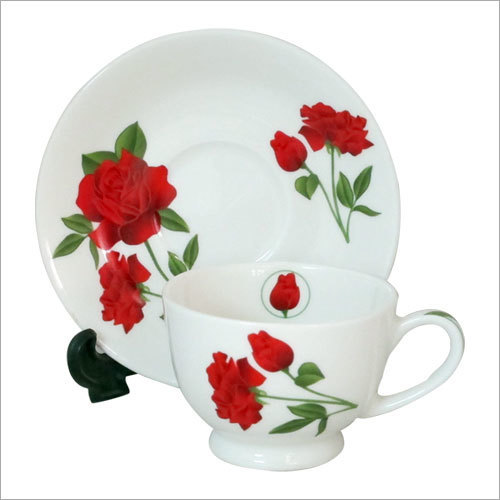 Floral design Printing on Cup Saucer