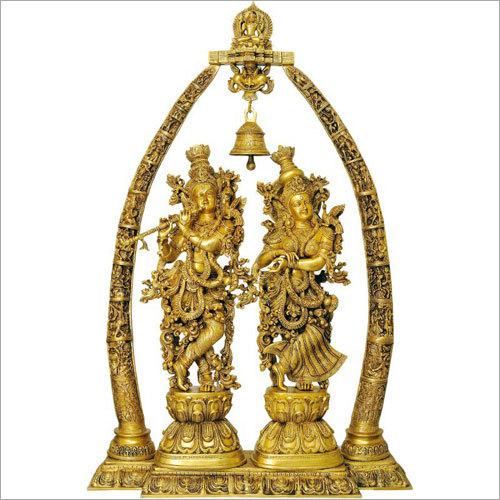 Radha Krishna Temple Shape Brass Statue