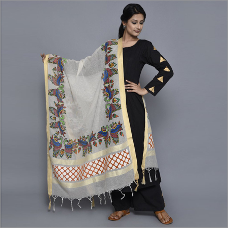 Madhubani Silk Modern Dupatta