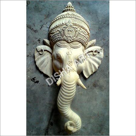 Wooden Ganesh Face Statue