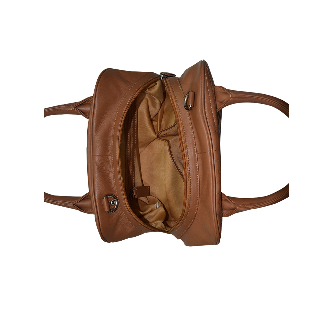 Finished Leather Handbag Color Tan