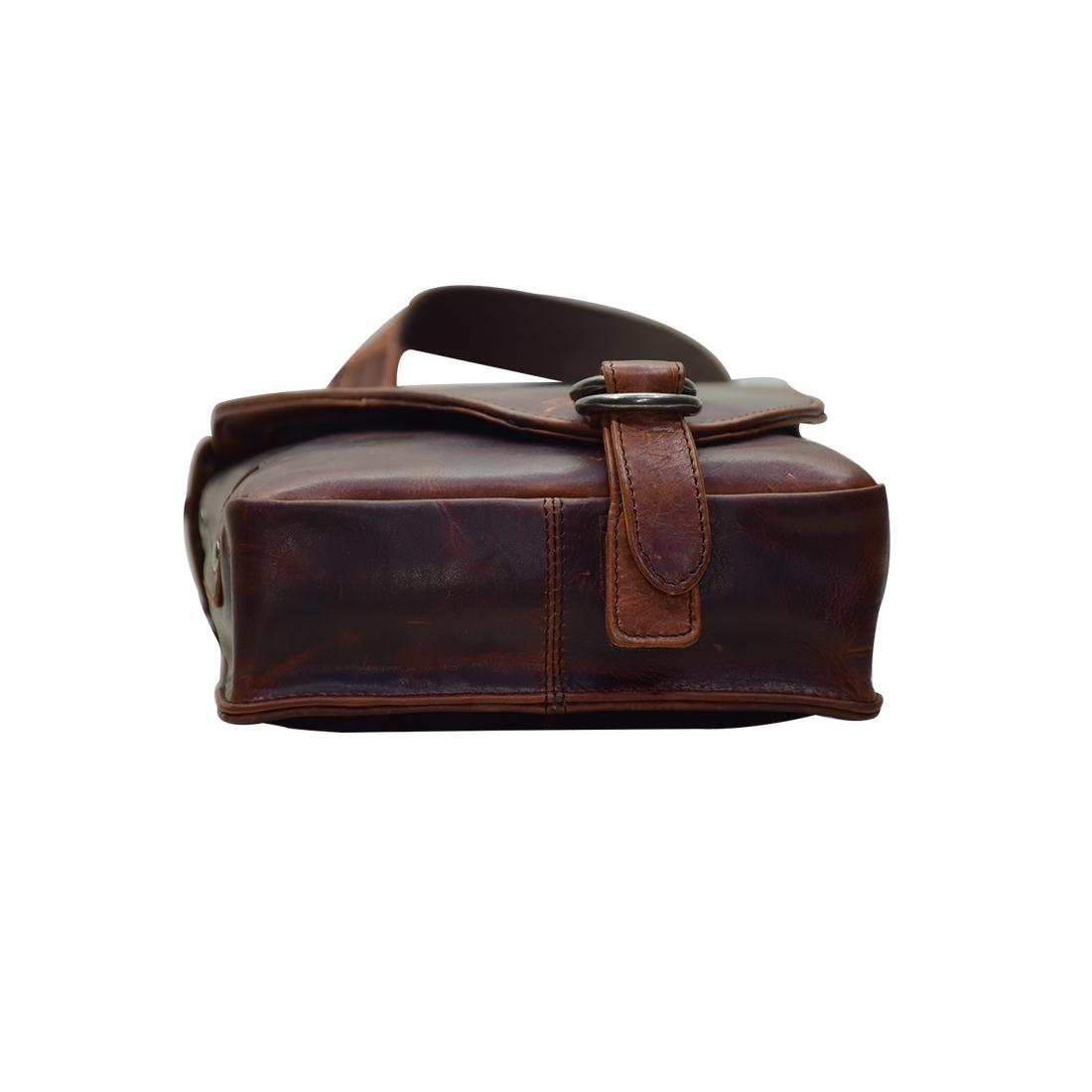 Leather Messenger Crossbody Bag