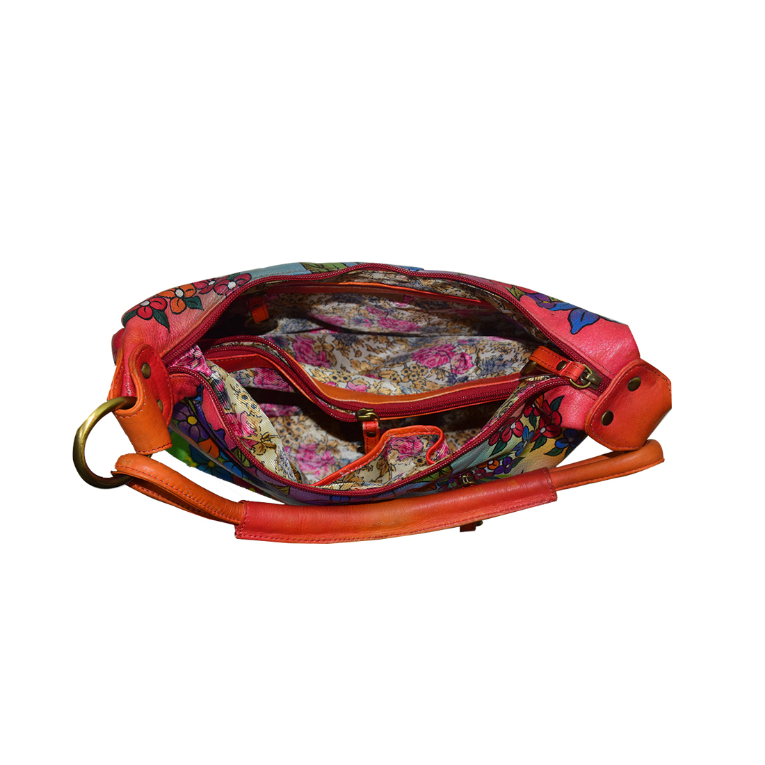 Hand Painted Colorful Leather Shoulder Bag