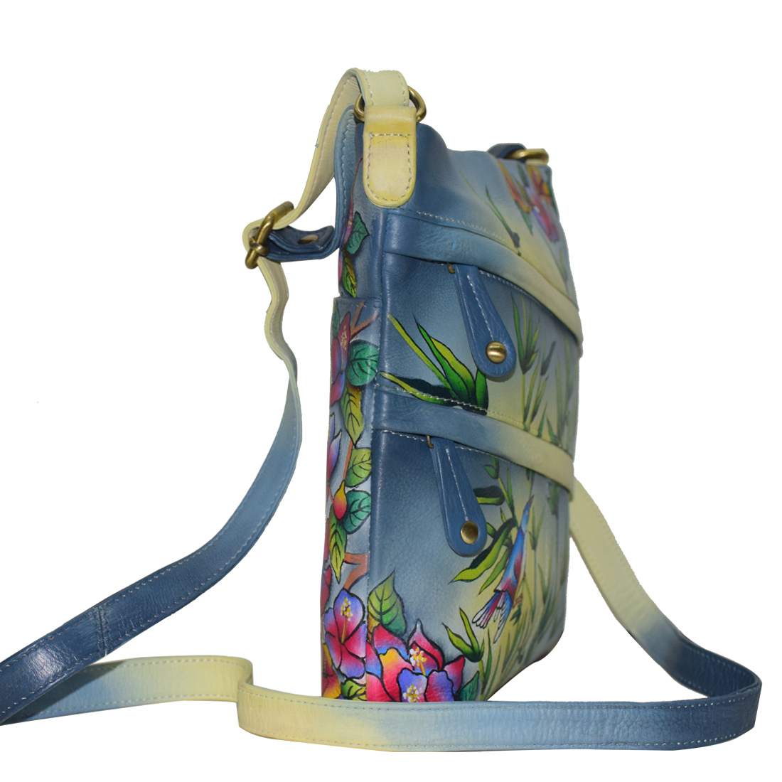 Hand Painted Leather Sling Bag Colorful