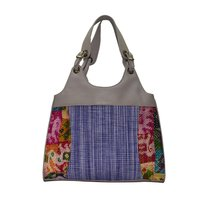 Cotton Leather Shoulder Bag Color Grey