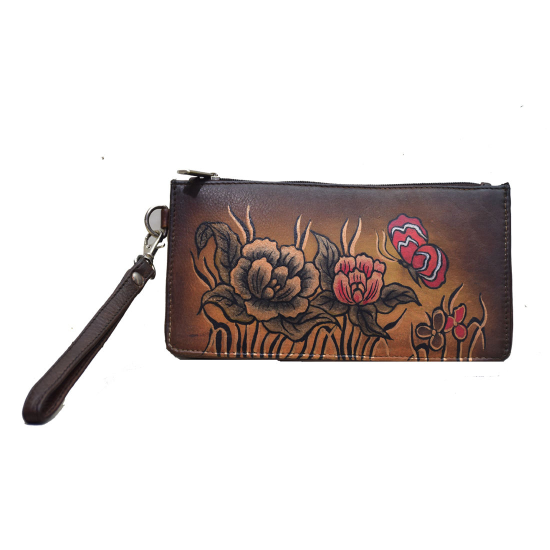 Hand Painted Leather Wristlet Wallet