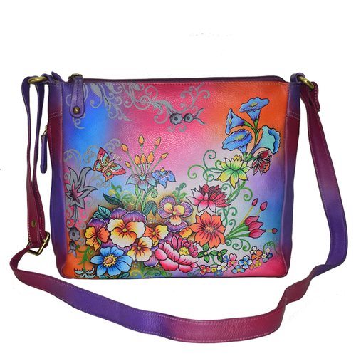 Leather Hand Painted Colorful sling Bag