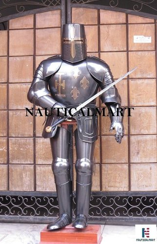 Full Suit of Armor Medieval Knight Crusader Wearable Suit of Armour - Black