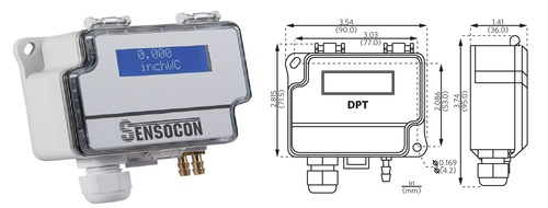 Sensocon USA Differential Pressure Transmitter Series DPT1-R8 - Range  0 - 125 Pa