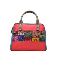 Silk Hand Held Bag with Leather Combination