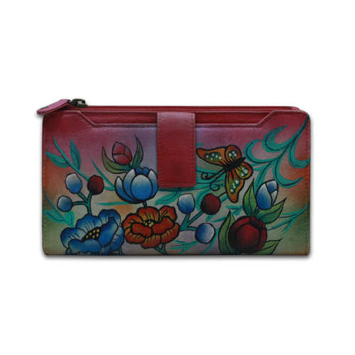 Ladies Hand Painted Leather Clutch Purse