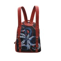 Printed Canvas Leather Backpack