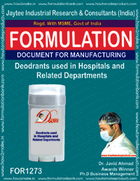 Deodrant used in hospitals and related Departments