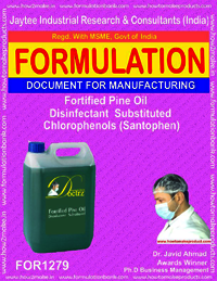 Fortified Pine oil Disinfectant substituted Chlorophenols