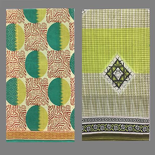 Parrot Green Cotton Printed Saree