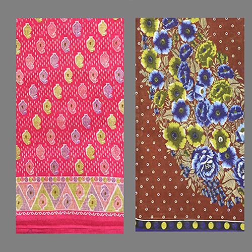 Pink Green Cotton Printed Saree