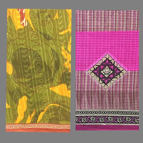 Pink Cotton Printed Saree