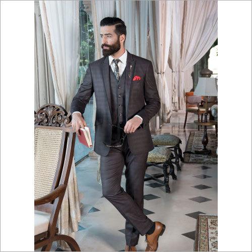Dark Brown Checkered Suit