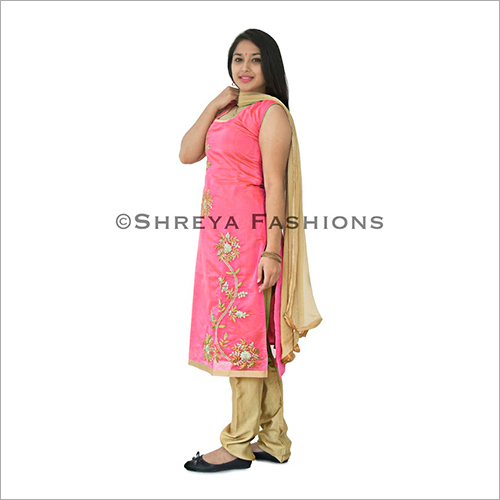 Chanderi Silk Ladies Churidar Suit