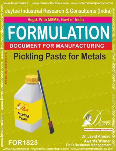 Pickling paste for metals production formulation