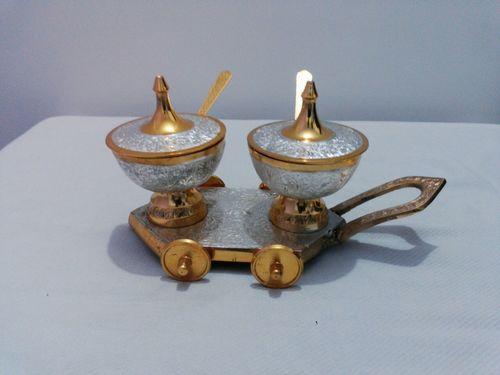 Brass Enamel Sugar Pot With Cart